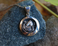 #3001 Mountain Band Collection© Mountain Scene Pendant #1 w/ Diamond
