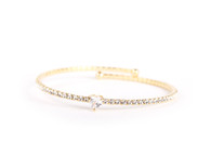 Heart Crystal Bangle (Golden)