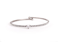 Heart Crystal Bangle  (Silver)
