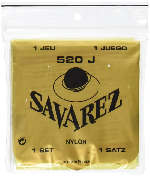 Savarez 520J Traditional Classical Guitar Strings, Very High Tension, Yellow Card