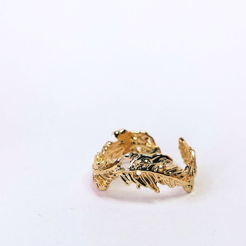 Gold plated feather ring