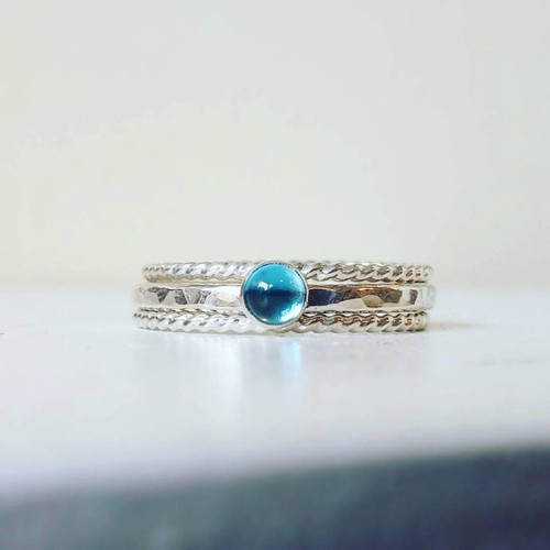 Blue Topaz Sterling Silver Stacking Ring Set