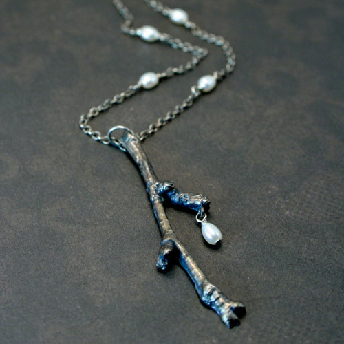 Birch Twig necklace - sterling silver and freshwater pearl