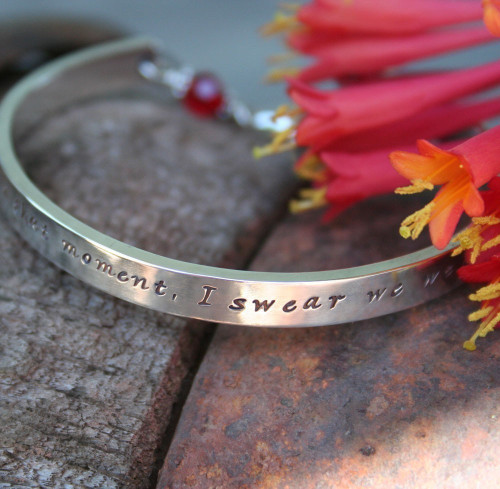 Solid sterling silver cuff bracelet, personalised with your own inscription and choice of birthstone at the clasp.