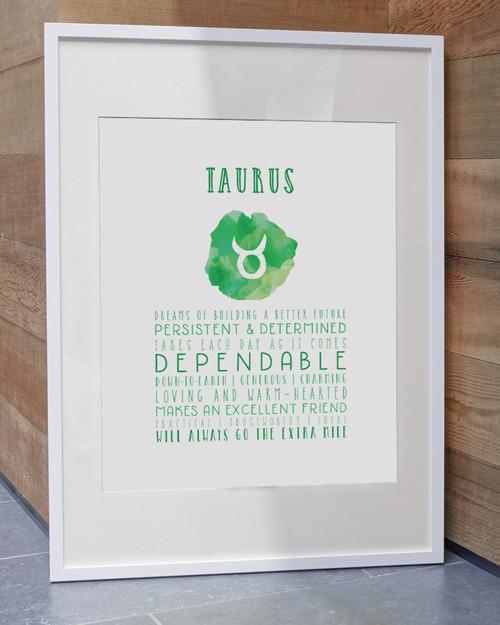Taurus Zodiac Print - Art Prints by Lamplight Studio