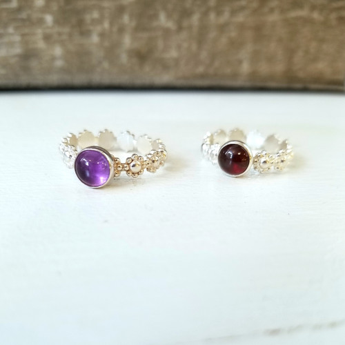 Dainty Flower Band Rings in Amethyst and Garnet