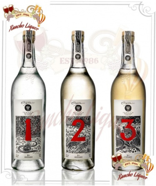 """123 Tequila """"Tres"""" 100% Organic Tequila Paradise 3 Pack 750mL"""