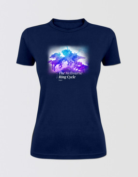 The Ring Cycle Ladies Navy Watercolour T-Shirt