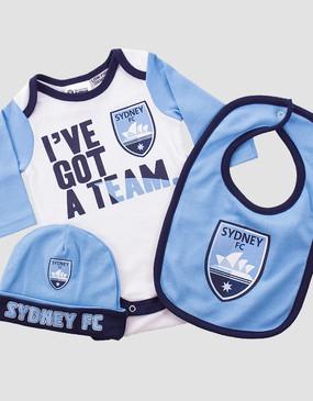 Sydney FC Babies Bodysuit 3Pc Pack