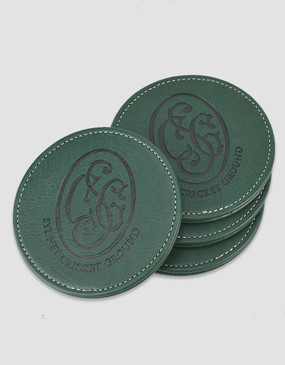 SCG Leather Coaster 4-Pack Green
