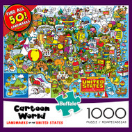 Cartoon World Landmarks of the United States 1000 Piece Jigsaw Puzzle Box