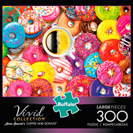Aimee Stewart's Vivid Coffee and Donuts 300 Large Piece Jigsaw Puzzle Box