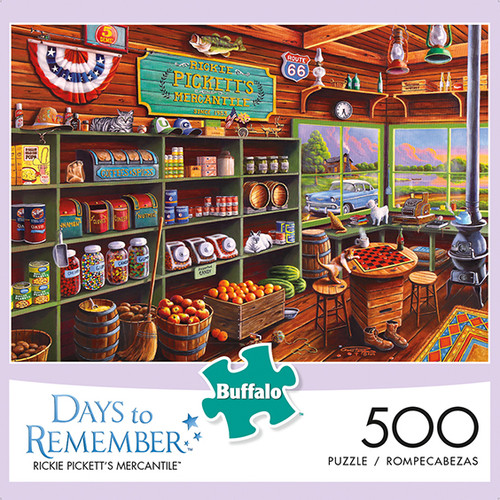 Days to Remember Rickie Pickett's Mercantile 500 Piece Jigsaw Puzzle Box