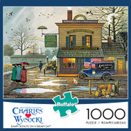 Charles Wysocki Dampy Donuts on a Dreary Day 1000 Piece Jigsaw Puzzle Box