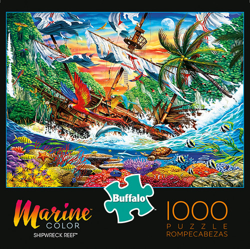Marine Color Shipwreck Reef 1000 Piece Jigsaw Puzzle Box