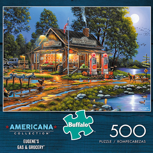 Americana Collection Eugene's Gas and Grocery 500 Piece Jigsaw Puzzle Box