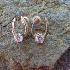 Horse Show shoes earrings with czs and posts