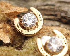 14K gold horseshoe earrings