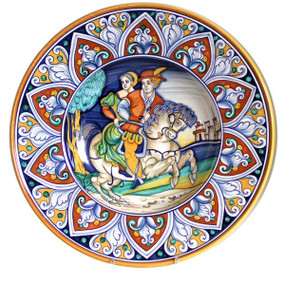 Couple on a Horse Wall Plate - Sberna - Italian Ceramics
