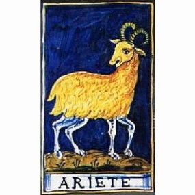 Aries Zodiac Tile - ARIETE Italian Ceramic Tile. Hand painted Italian tile from Castelli, Italy.