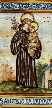 St. Anthony of Padova Tile - Patron of Lost Items Italian Ceramic Tile. Hand painted Italian tile from Castelli, Italy.