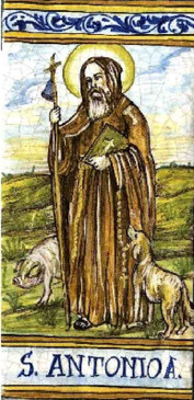 St. Anthony The Abbot Tile - Patron of Animals Italian Ceramic Tile. Hand painted Italian tile from Castelli, Italy.