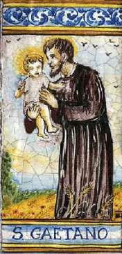 St. Gaetano Tile - Patron of Workers Italian Ceramic Tile. Hand painted Italian tile from Castelli, Italy.