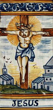 Jesus Italian Ceramic Tile. Hand painted Italian tile from Castelli, Italy.