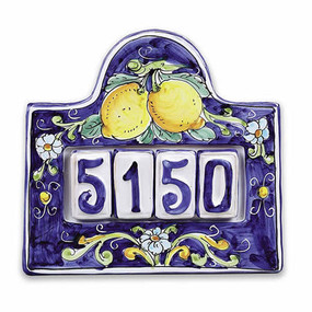 House Numbers Plates - Lemons - 4 Numbers - Italian Ceramics