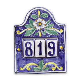 House Number Plate - Flowers - 3 Numbers - Italian Ceramics