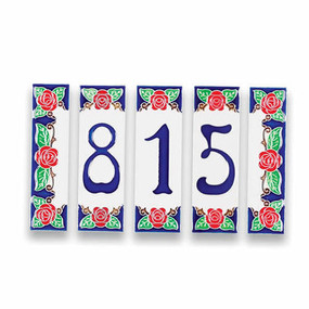 Italian Ceramic House Numbers Tiles - Roses