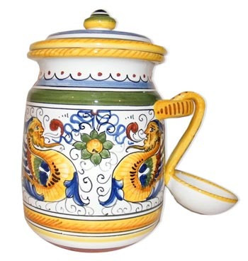 Olive Jar with Spoon - Raffaellesco - Italian Ceramics