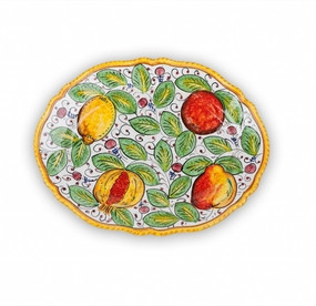 Frutta Mista Fluted Oval Platter - Italian Ceramics