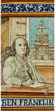 Ben Franklin Tile Italian ceramic tile. Hand painted Italian tile from Castelli, Italy.
