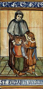 St. Elizabeth Ann Seton Tile Italian Ceramic Tile. Hand painted Italian tile from Castelli, Italy.
