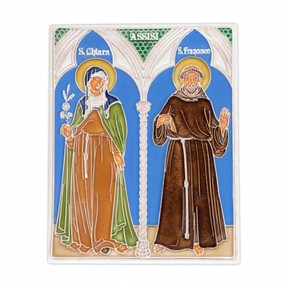 St. Francis & St. Claire Tile Italian Ceramic Tile. Hand painted Italian tile from Castelli, Italy.