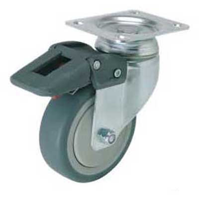 Swiveling Caster w/Mounting Plate & Brake