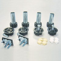 Camar Metal Levelers with Plastic Sockets and Groove Mount Clips