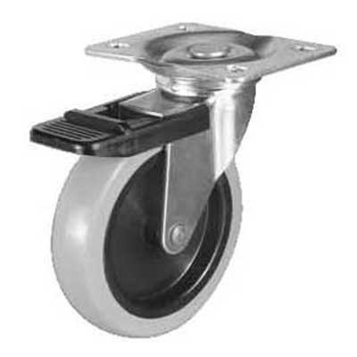 Swiveling Caster w/Brake & Mounting Plate