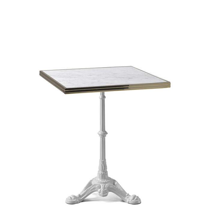 ... Ardamez Square White Marble Haussmann Bistro Table Top. Image 1