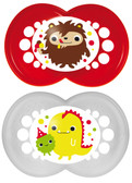MAM Monster Orthodontic Silicone Pacifiers 6+ m, 2 pk, Red/White