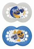 MAM Rock and Roll Orthodontic Silicone Pacifiers 6+ m, 2 pk, Blue