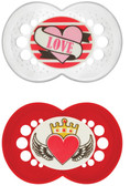 MAM Rock and Roll Orthodontic Silicone Pacifiers 6+ m, 2 pk, Red/Clear