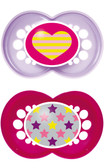 MAM Trends Orthodontic Silicone Pacifiers 6+ m, 2 pk, Pink/Purple