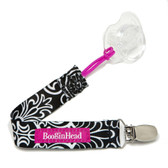 Booginhead PaciGrip Pacifier Holder, Black Flourish