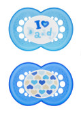 MAM Love & Affection I Love Daddy Orthodontic Silicone Pacifiers 6+ m, 2 pk, Boy
