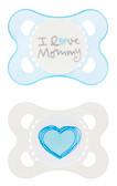 MAM Love & Affection I Love Mommy Orthodontic Silicone Pacifiers 0-6 m, 2 pk, Boy