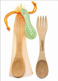 U Konserve Bamboo Utensil with Mesh Pouch Neon Orange 1-Pack (More Colors)