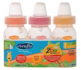 Evenflo Feeding Zoo Friends 4oz 3-Pack Bottle with Anatomic Nipple