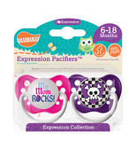 Ulubulu My Mom Rocks & Purple Skull Checker Pacifiers 6-18M (Girl)